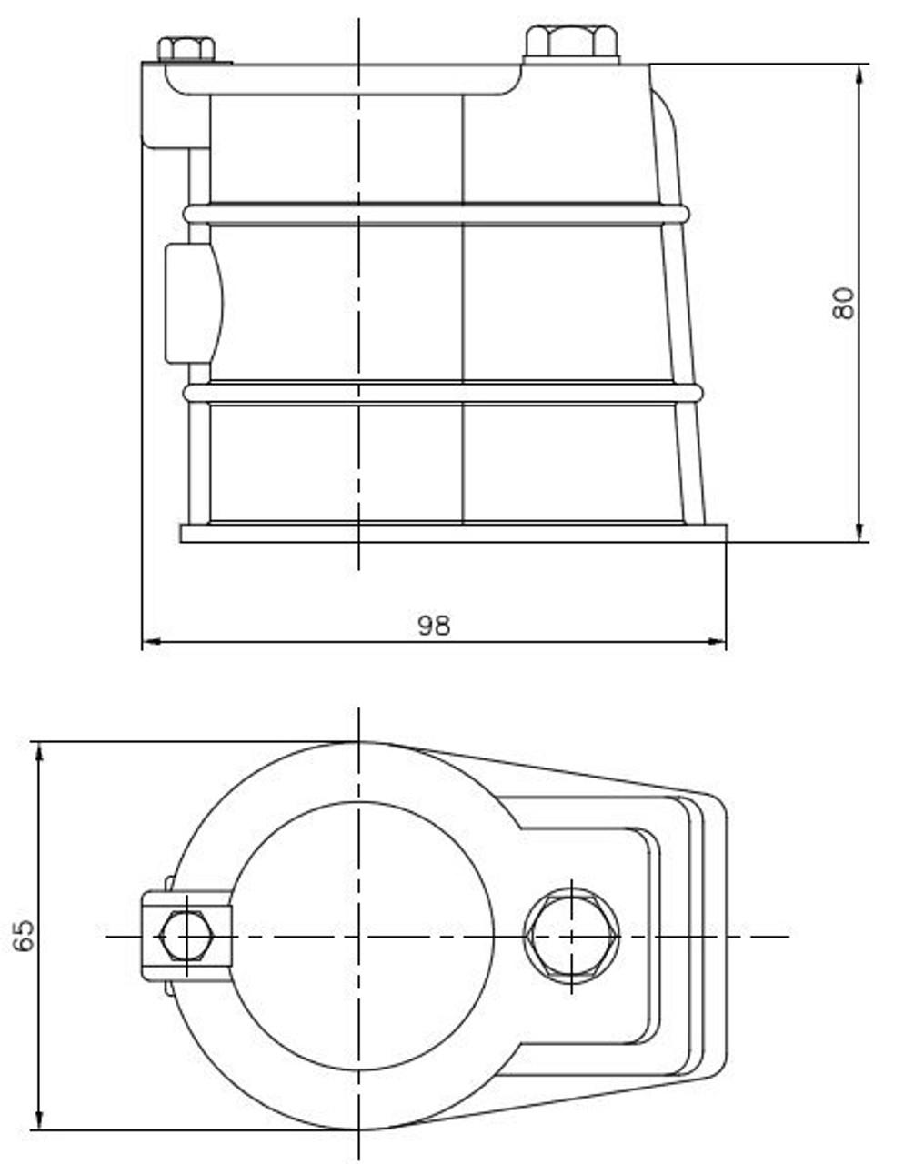 Optional grab rail anchor kit dimensions