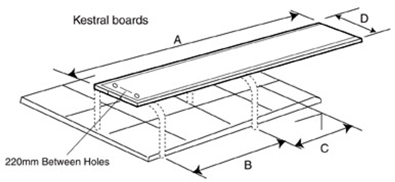 Dimensions of the Kestrel Diving Board with Stainless Steel Stanchions