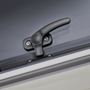 A detailed image of a window latch on the Dometic S7P caravan motorhome and campervan windows