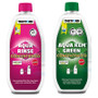 Both the pink and green Aqua Kem / Rinse toilet chemicals from Thetford are more eco-friendly and safe for use in a septic tank when camping or in a caravan.