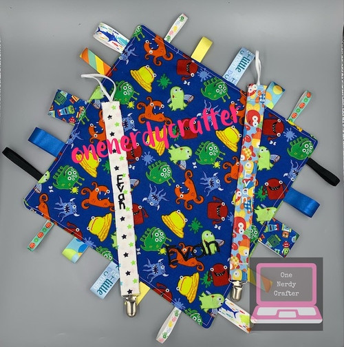 New Baby Bundle - Tag Blanket, Bibdana and Pacifier Clip Set
