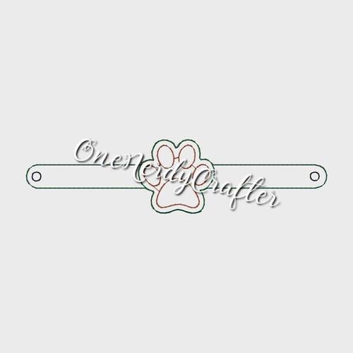 PawPrint Flasher Bracelet Embroidery Digital Design File