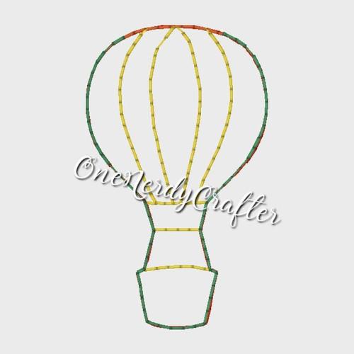Hot Air Balloon Flasher Feltie Embroidery Digital Design File