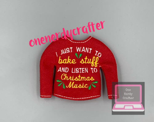 Bake and Christmas Music Elf Sweater