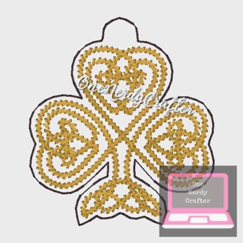 Shamrock Eyelet Fob Embroidery Digital Design File
