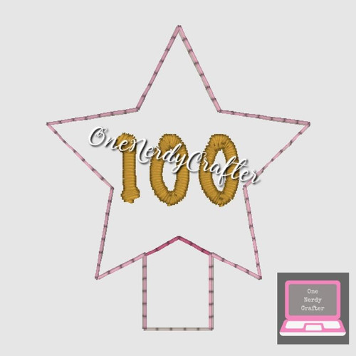 100 Star Pencil Topper Embroidery Digital Design File