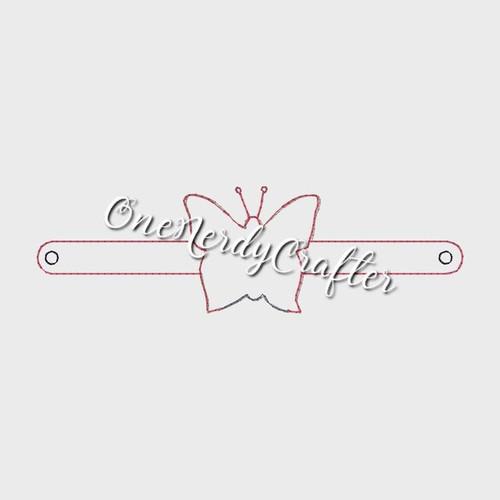 Butterfly Flasher Bracelet Embroidery Digital Design File
