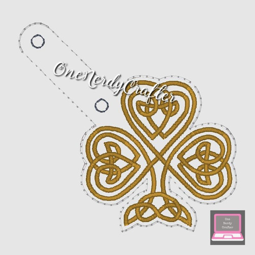 Celtic Shamrock Snap Tag Embroidery Digital Design File