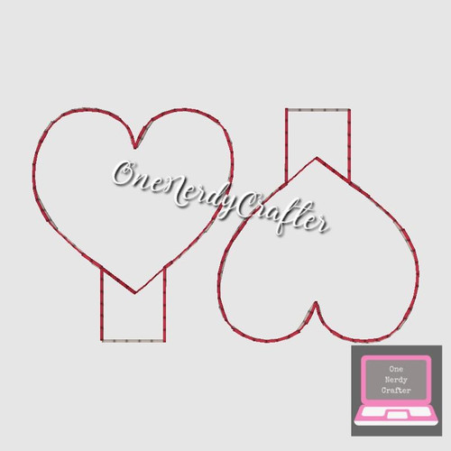 Blank Heart Pencil Topper Embroidery Digital Design File