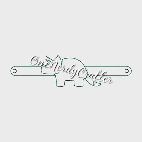 Tricerotops Flashing Bracelet Embroidery Digital Design File