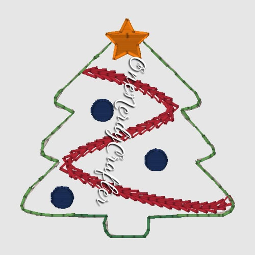 Christmas Tree Flasher Feltie Embroidery Digital Design File