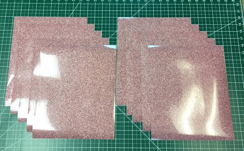 """Rose Gold Siser Glitter Ten (10) 10"""" x 12"""" Sheets"""