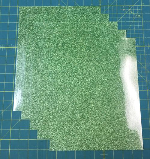"Light Green Siser Glitter Five (5) 10"" x 12"" Sheets"