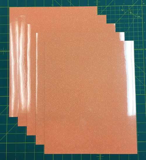 "Neon Orange Siser Glitter Five (5) 10"" x 12"" Sheets"