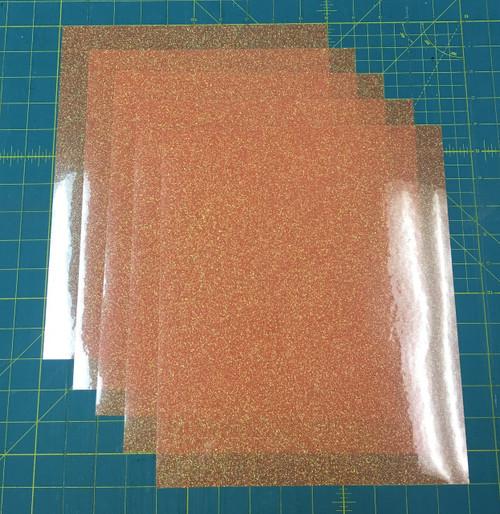 "Translucent Orange Siser Glitter Five (5) 10"" x 12"" Sheets"