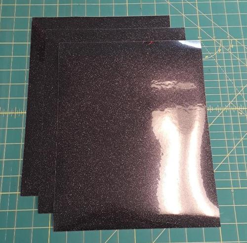 """Black Glitterflex Three (3) 10"""" x 12"""" Sheets"""
