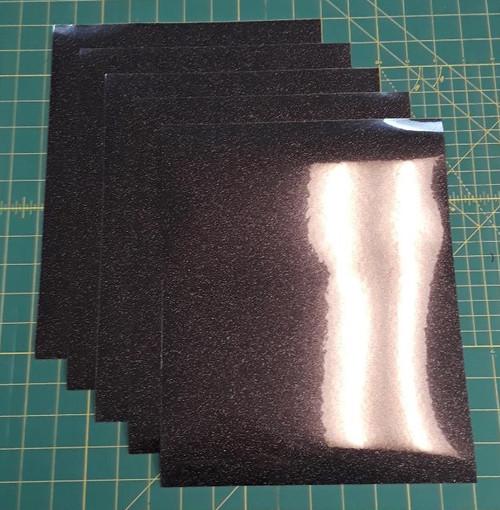 """Black Glitterflex Five (5) 10"""" x 12"""" Sheets"""