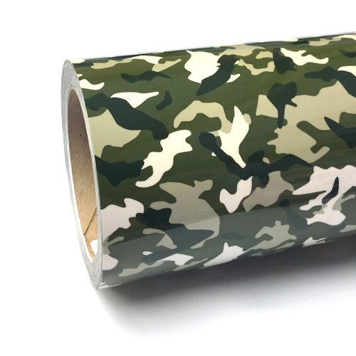 "Green Camo Thermoflex Fashion Patterns 12"" Roll (Click for Lengths)"