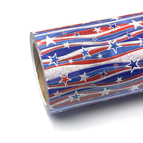 "Stars Stripes Thermoflex Fashion Patterns 12"" Roll (Click for Lengths)"