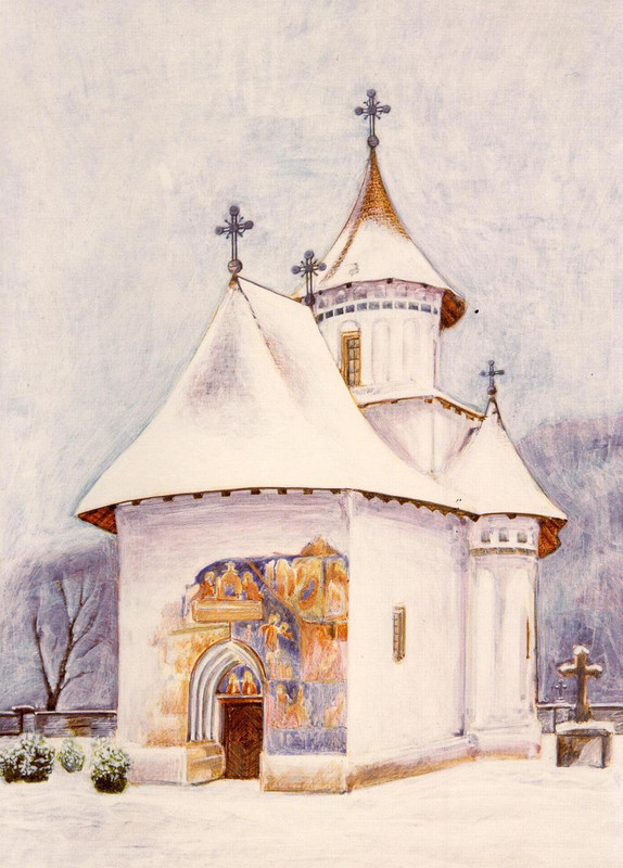 The Church of the Holy Cross Patrauti Women's Monastery built by Stefan the Great in 1487. Moldavia, Romania