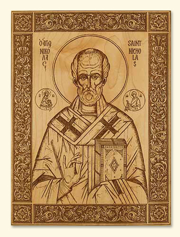 LASER ENGRAVED ICON - ST NICHOLAS