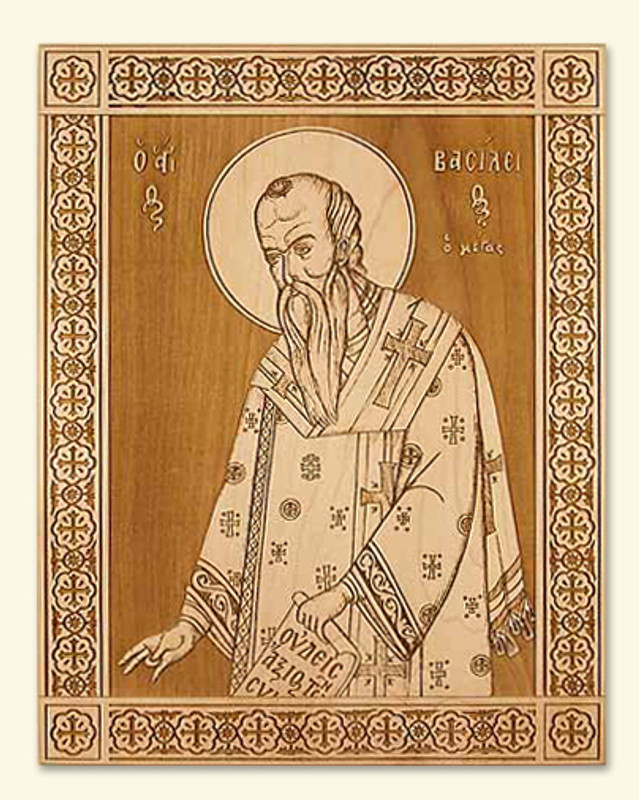 LASER ENGRAVED ICON - ST BASIL THE GREAT