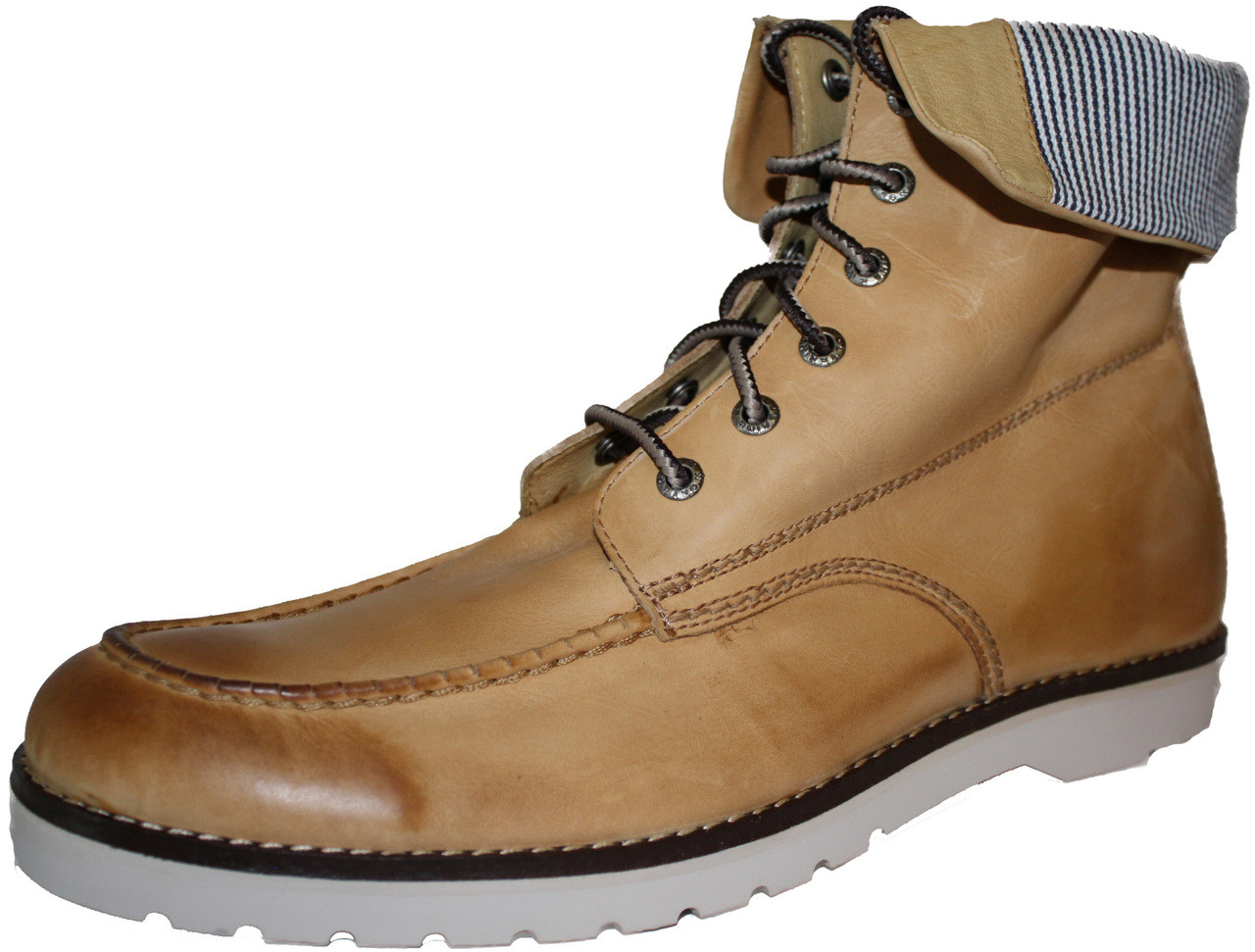 1bb358dc00b Wolverine W00207 Mens Moc-Toe Wedge Tan Boot w/Pin Stripe Fold Down