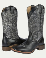 Noble N66025-017 Womens Charcoal Floral Embossed All-Around Square Toe Boot