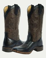 Noble N66025-019 Womens Black/Dark Brown Floral Embossed All-Around Square Toe Boot