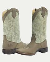 Noble N66025-032 Womens Bark/Traditional Tan Floral Embossed All-Around Square Toe Boot