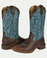 Noble N66025-130 Womens Dark Chocolate Floral Embossed All-Around Square Toe Boot