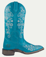 Noble N66027-720 Womens Turquoise Frontier Floral All-Around Square Toe Boot