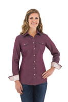 Noble Outfitters 21004-672 Womens Rock Roll Denim Western Snap Frayed Shirt