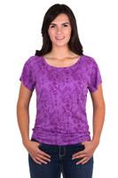 Noble Outfitters 22510-604 Womens Grape Lorinda Top Shirt