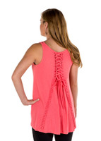 Noble Outfitters 20519-350 Womens Madeline Lace Up Tank Coral Shirt