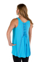 Noble Outfitters 20519-697 Womens Madeline Lace Up Tank Blue Shirt