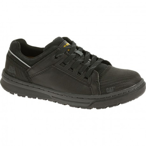 Caterpillar P90600 Mens Concave Lo Black Leather Steel Toe Slip Resistant Work Shoe