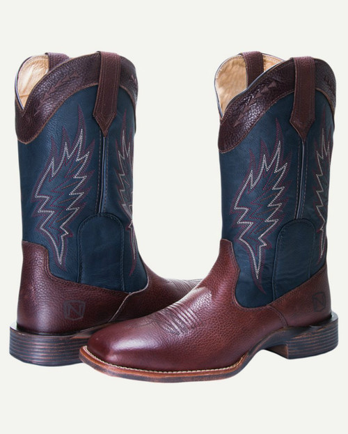 Noble N65005-132 Mens Brown/Navy All-Around Square Toe Boot