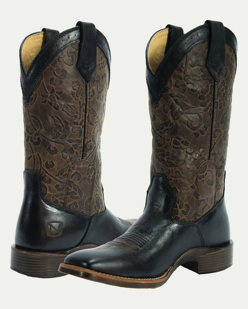 Noble N66025-019 Womens Black/Dark Brown Floral Embossed All-Around Square Toe Boot