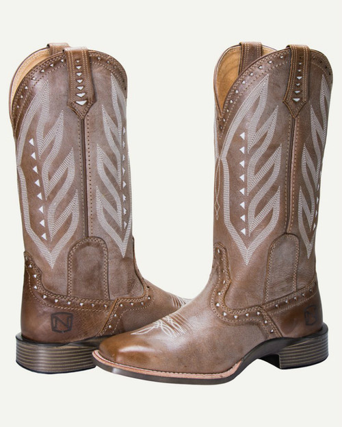 Noble N66031-109 Womens Burnished Tan Vintage All-Around Square Toe Boot
