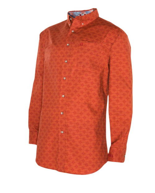 Noble Outfitters 11002-355 Mens Generations Burnt Sienna Geo Print Shirt