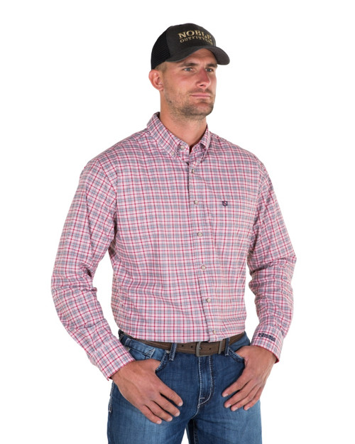 Noble Outfitters 11002-455 Mens Generations Fine Line Plaid Shirt