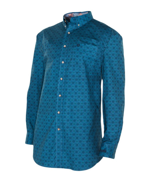 Noble Outfitters 11002-778 Mens Heirloom Blue Geo Print Shirt