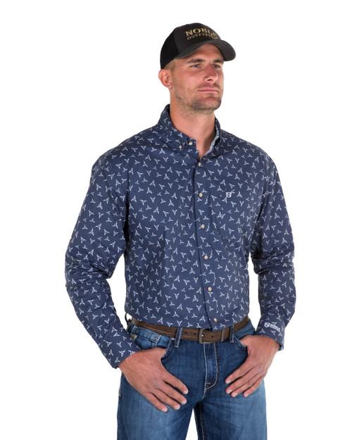 Noble Outfitters 11002-789 Mens Navy Generations Bull Skull Shirt