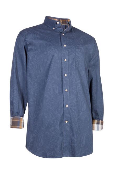 Noble Outfitters 11002-877 Mens Generations Dark Navy Paisley Print Shirt