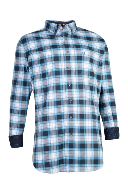 Noble Outfitters 11002-880 Mens Generations Navy Plaid Western Shirt