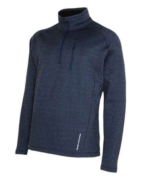 Noble Outfitters 11502-711 Mens Performance Quarter Copen Heather Zip Mock Sweater