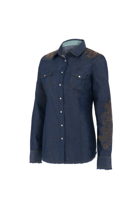 Noble Outfitters 21004-723 Womens Rock Roll Denim Western Snap Frayed Shirt