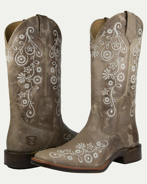 Noble N66027-018 Womens Granite Frontier Floral All-Around Square Toe Boot