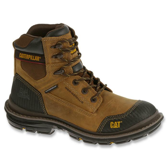 """Caterpillar P74051 Mens Brown Fabricate 6"""" Tough Waterproof Work Boot"""